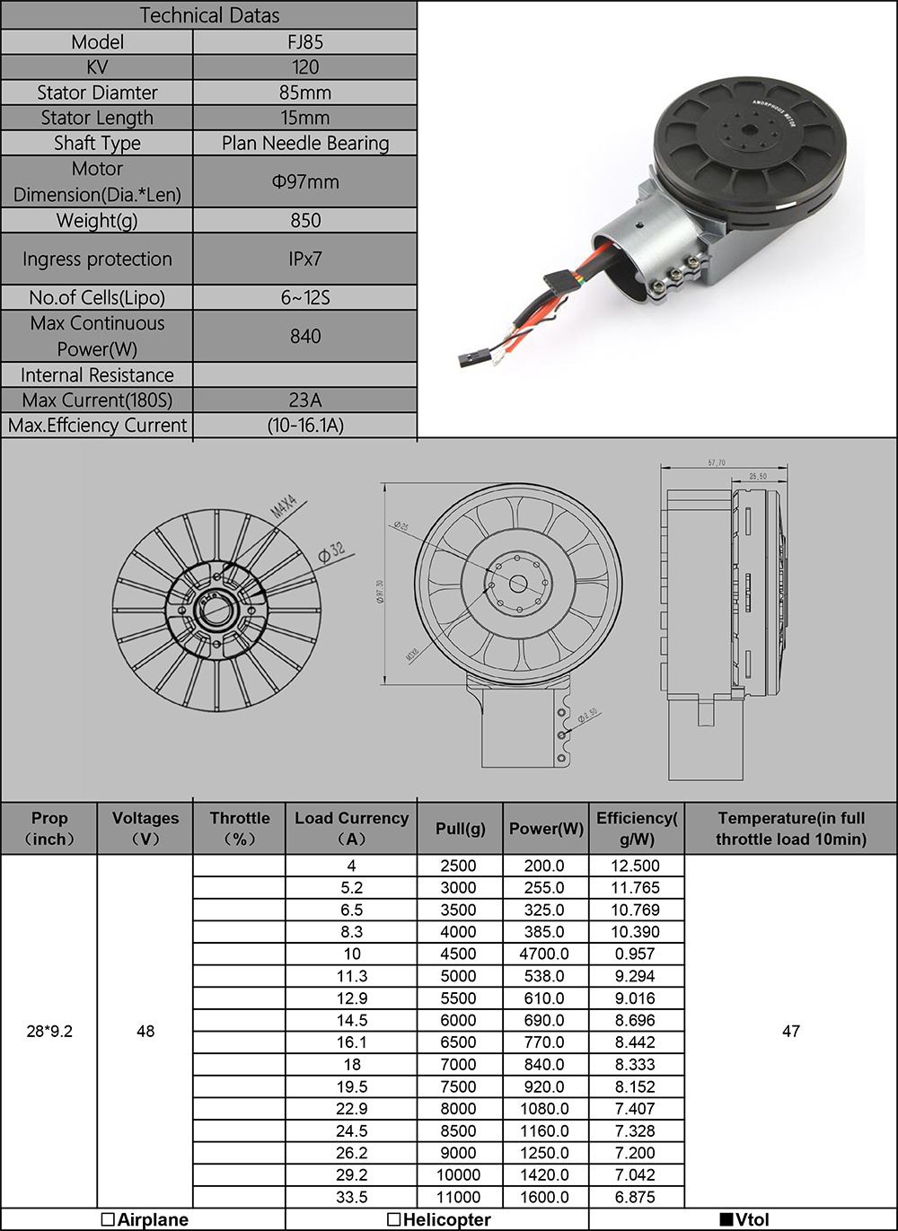 FJ85-Amorphous Brushless Motor