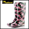 Botas de chuva arco-íris, botas de chuva de borracha amarelo mulheres, botas de wellington vermelho W-6040C