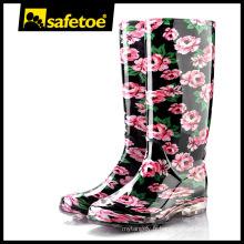 Bottes de pluie arc-en-ciel, bottes en caoutchouc en caoutchouc jaune, bottes rouge bien-être W-6040C