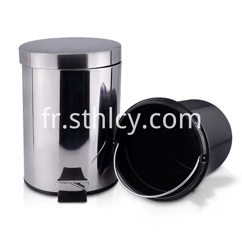 Cylinder Foot Pedal Stainless Steel Garbage Can