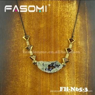 Attractive golden fashion bijoux collier pierres Druzy gros
