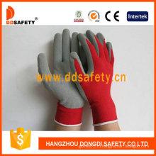 Красный нейлон с серой перчатка латекса-Dnl751