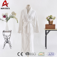 Cheap price 100% polyester white flannel fleece solid bathrobe