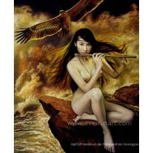 Handgemachte Segeltuch-Kunst Nackte Mädchen-Malerei auf Segeltuch für Hauptdekoration (EBF-074)