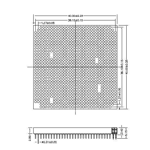 PGA04-XXXXXX PGA Pin grid array sockets 2.54X2.54mm