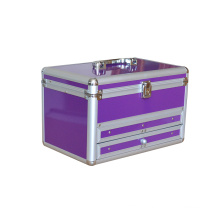 Silver Aluminum Trolly Cosmetic Case Professional Makeup Case