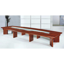Solid wood oval glass top conference table for big meeting room