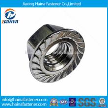 Aço inoxidável 304 porca de flange hexagonal com serrilhado