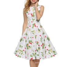 Europäische Frauen Sommer Sleeveless Sexy Kirschdruck Kleid