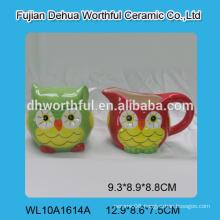 Cute owl shaped ceramic sugar and creamer set