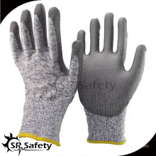 SRSAFETY cut resistant working glove coated with PU,white PU working safety gloves