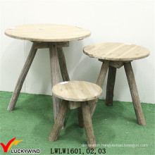 Triangle Shaped Fancy Wood Coffee Table Set