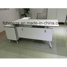 Meubles de bureau de bureau de mélamine blanche de forme de L (FOH-SM1716)