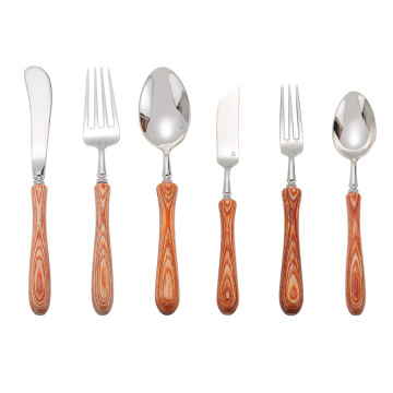 Food Grade gagang kayu Set sendok garpu Stainless Steel