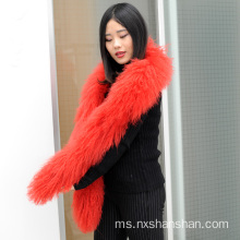 Fesyen Winter Mongolia Lamb Sheep Fur Scarf Women