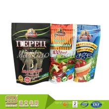 Resealable Food Packaging Custom Printing Plastic Zip Lock Aluminum Foil Bag With Tear Notch