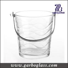 Waving Pattern Crystal High White Glass Ice Bucket (GB1902B)