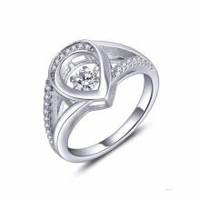 Heart 925 Silver Ring Dancing Diamond Jewelry AAA CZ