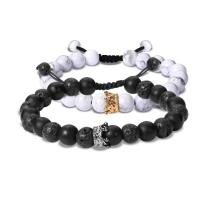 Crown natural stone beads bracelet