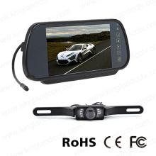 Monitor de espejo de 7 pulgadas con cámara de placa de licencia de visión trasera