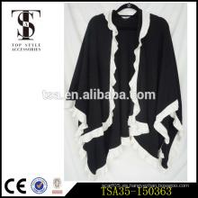 Comercio garantizado negro manta blanco volante lado cuadros tejer patrón poncho feliz navidad regalo