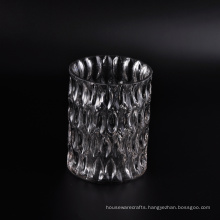 Transparent Faceted Glass Candle Jar