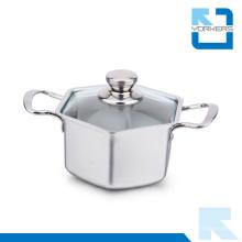 304 18/8 Pot en acier inoxydable en hexagone et pot de soupe