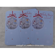 Die-Cut Round Corner Embossed Glitter Christmas Bell Greeting Cards for First Baby