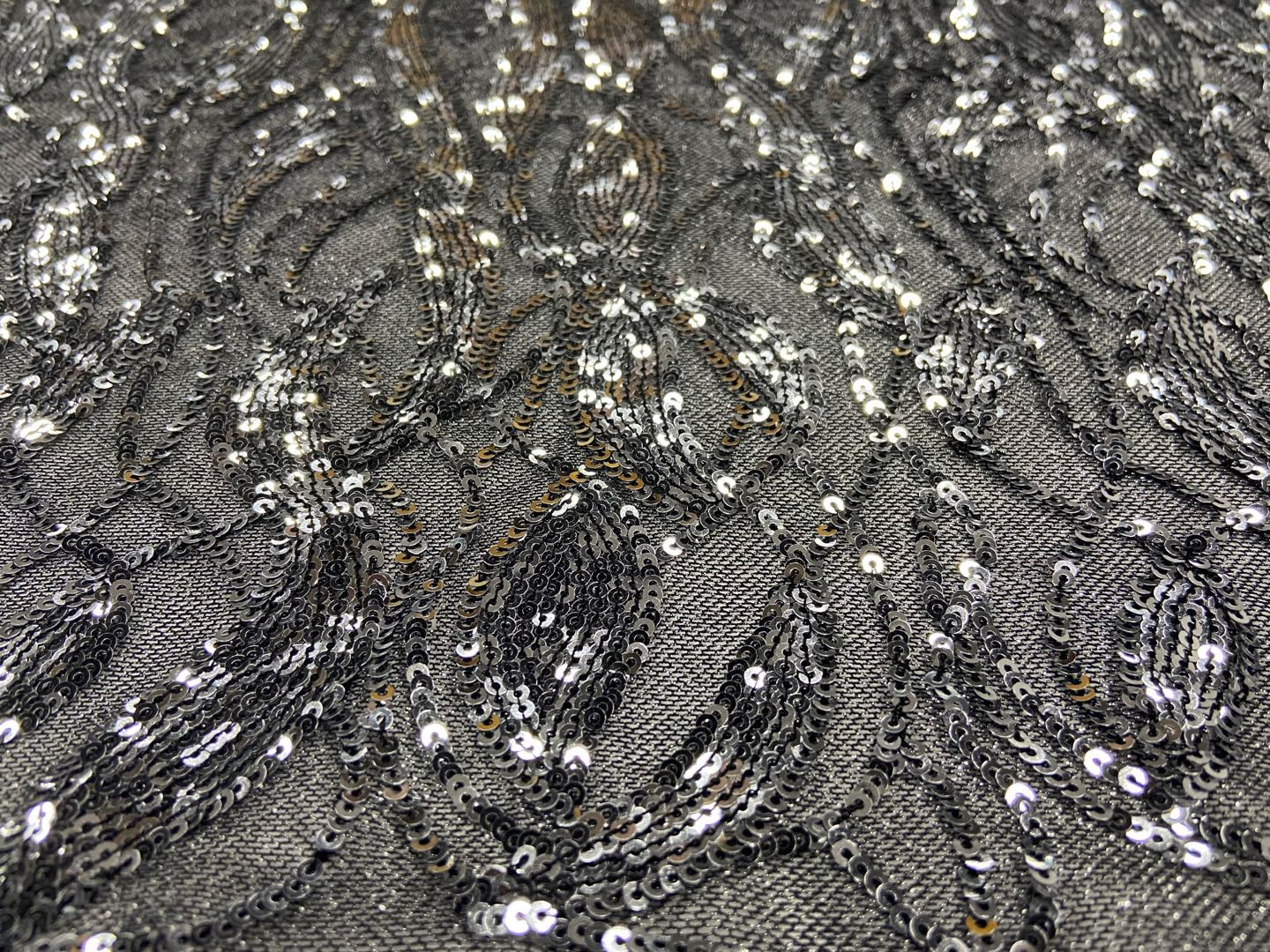 Moire Pattern Sequins Embroidery Fabrics