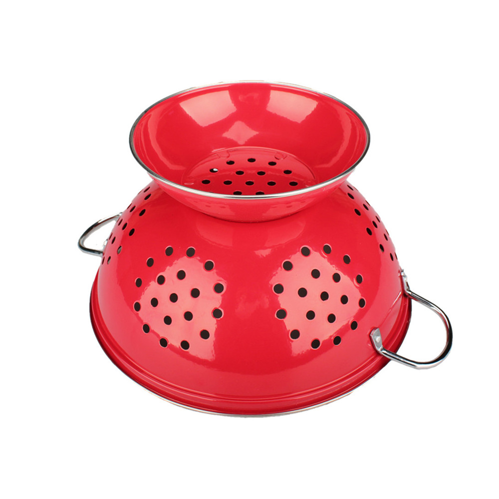 Red Stainless Steel Colander Durable Handle