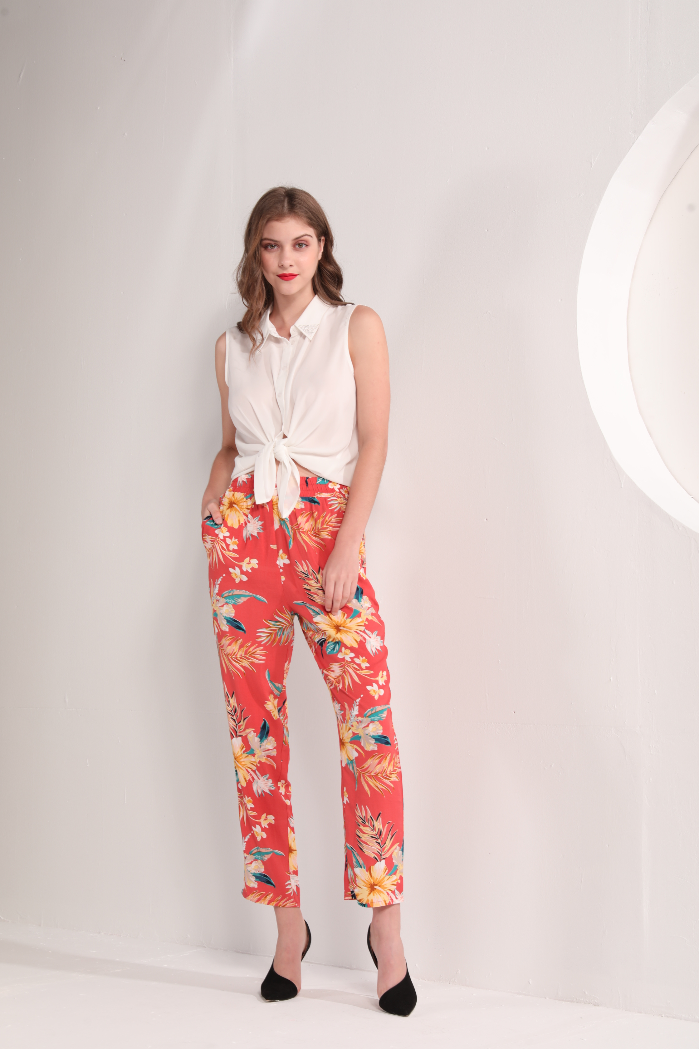 Ladies' Tropical Floral Print Pants
