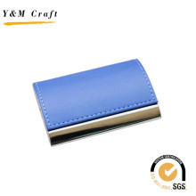 Metal Leather Name Card Holder with Blue Color on Top