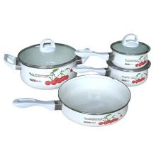 7pcs porcelain enamel cookware sets with glass lid