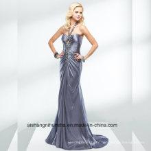 Glänzende Frauen, die Halter-Satin-Backless Abend-Partei-Abschlussball-Kleid bördeln