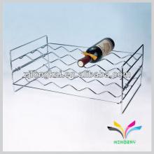 mostrador de la parte superior 2 pisos estilo de onda cromo fasionable hilo de hierro forjado rack de vino