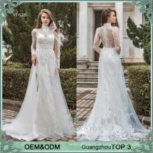 Brautkleider online Hersteller Guangzhou Hochzeitskleid erste Klasse lange Ärmel Strand Brautkleider Hochzeit Brautkleid