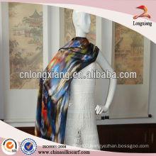 custom made printed reversible wool shawl