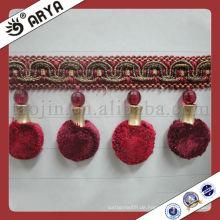 Red Vorhang Pompom Fransen, dekorative Trimmen Fringe für Vorhang Zubehör von Haus Dekoration verwendet