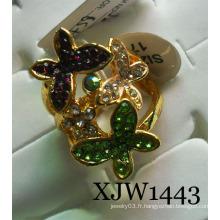 Anneau en alliage de fleur de papillon diamant (XJW1443)
