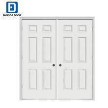 Fangda 6 paneles puertas de acero dobles exteriores residenciales