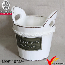 Flower Pot in Barrel Shape with Handle for Planting
