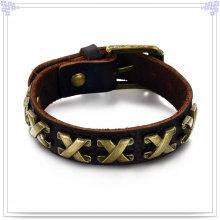 Joyas de cuero pulsera de cuero joyería hecha a mano (lb179)