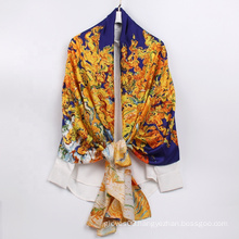 Wholesale New Fashion Scarf Oil Painting Printed Twill Polyester Silk Scarves For Women