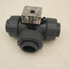 Válvula de esfera operada por alavanca de válvula de água de 3 vias pvc