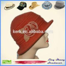100% Wool Bucket Hat With Flower Winter Hat