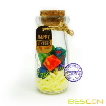 Bescon Easter Dice Polyhedral Dice 7pcs RPG Set in Glass Jar, RPG Dice Set d4 d6 d8 d10 d12 d20 d% Set of 7 Easter Dice-DnD Dice