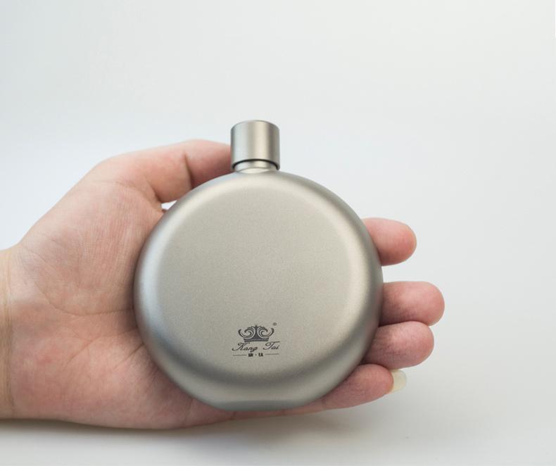 Titanium round flat hip flask