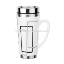 ceramic double wall stainless steel mug with handle 16oz TC002