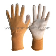 Orange Polyester Knitted Gloves with White PU Dipping