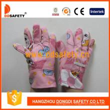 Gants de jardin pour enfants avec coton rose Dgk103